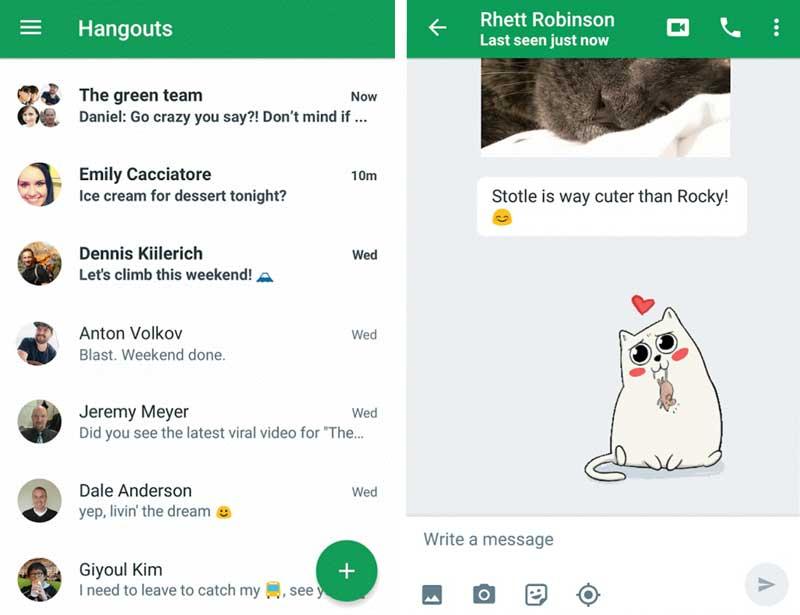 Отправление сообщений в Hangouts на Android