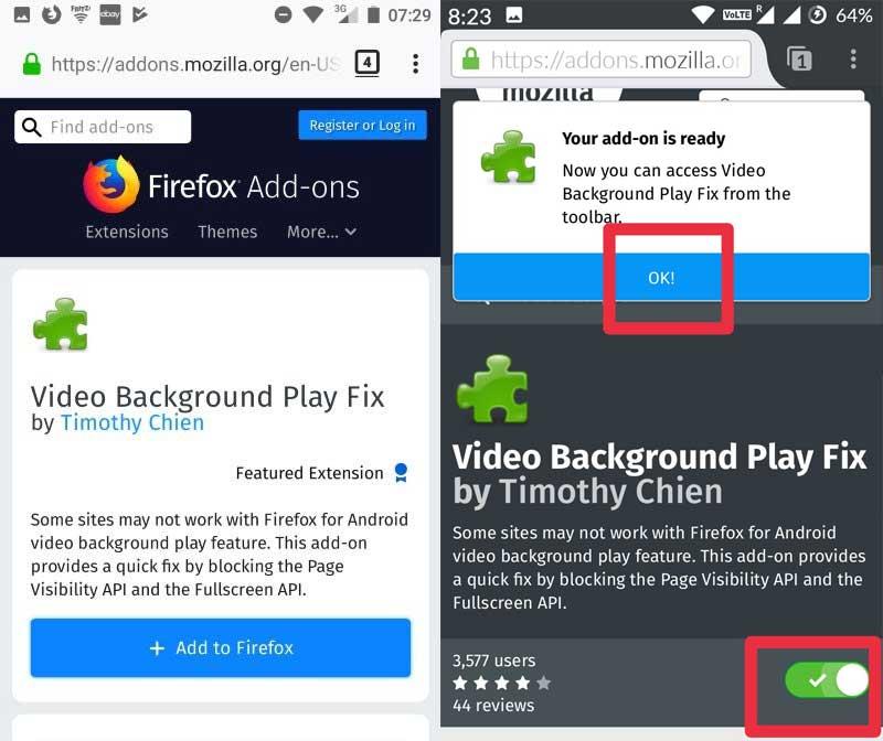 Приложение Video Background Play Fix на Android