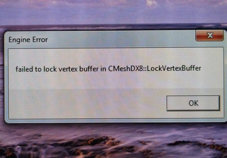 Из-за чего происходит ошибка «Failed to lock vertex buffer in CMeshDX8::LockVertexBuffer»
