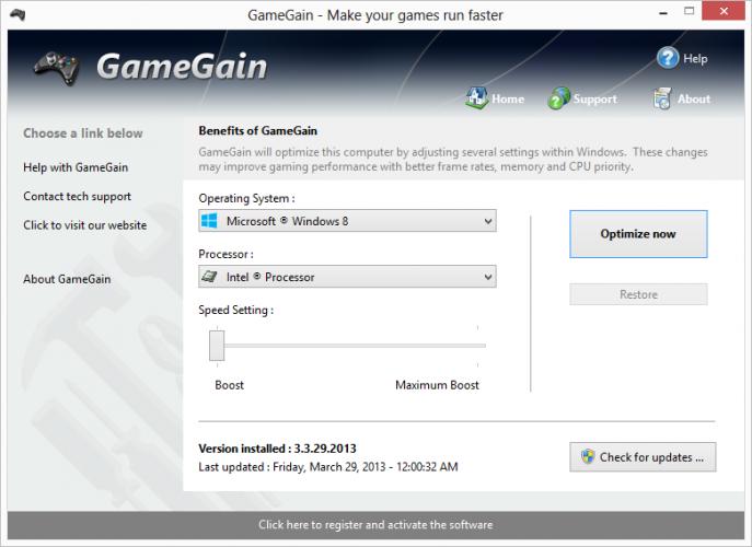 Интерфейс программы Game Gain