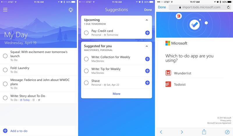 Приложение Microsoft To Do на iOS