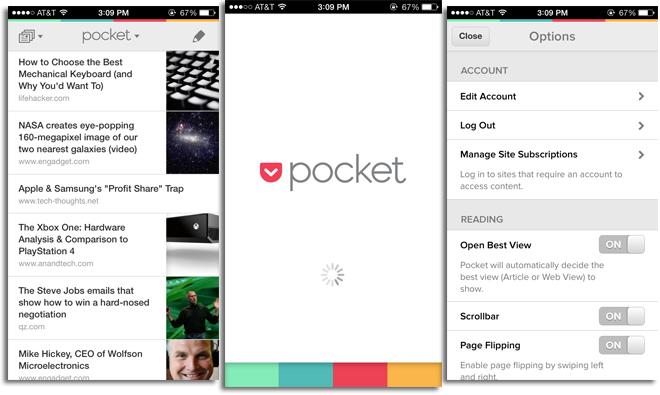 Приложение Pocket на iOS