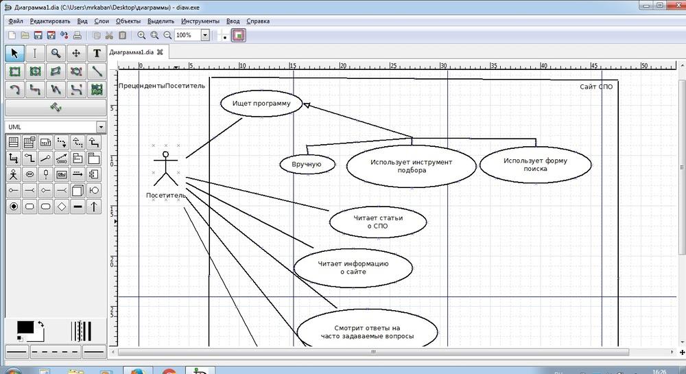 Программа для блок-схем Dia