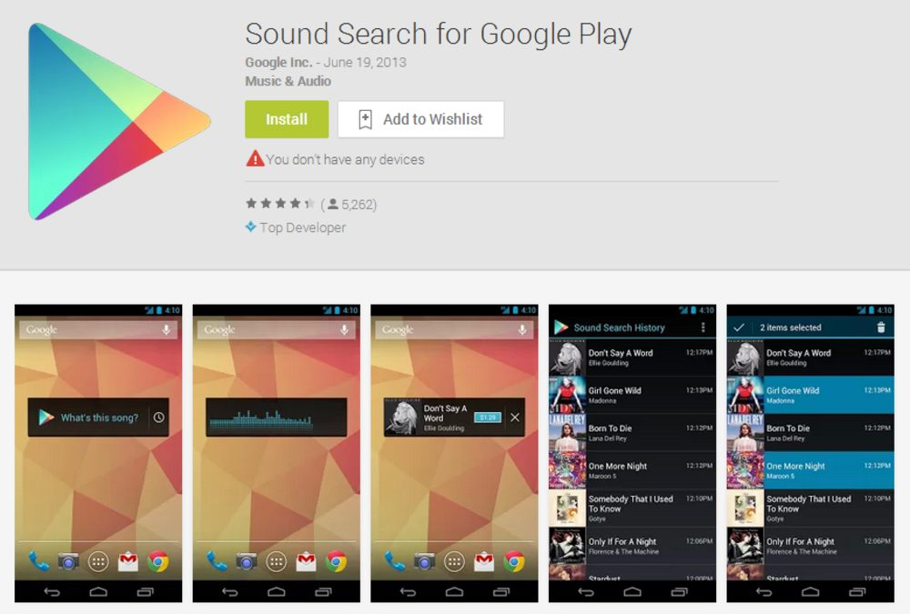 Sound Search in Google Play