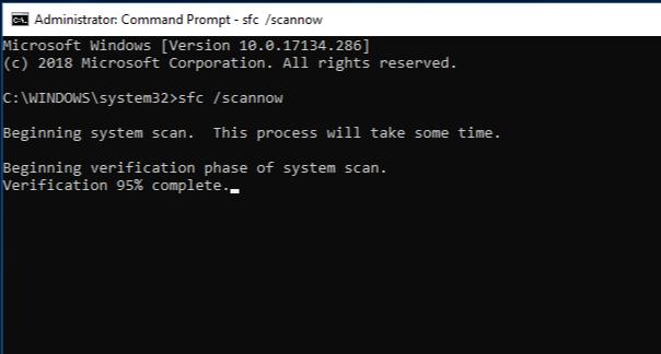 Выполнение команды sfc /scannow
