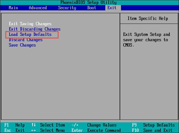 Пункт «Load Default Setting»
