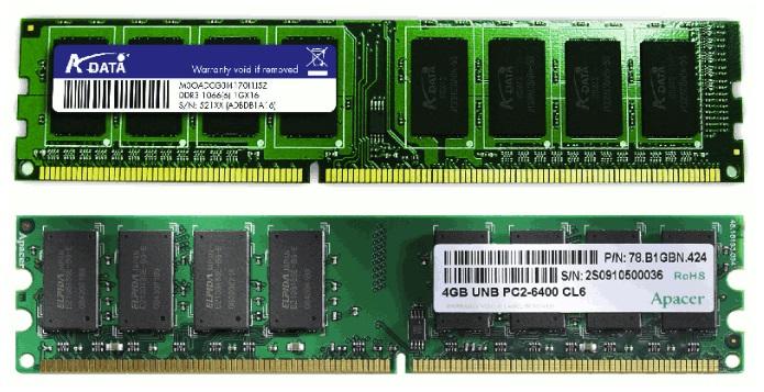 Разные планки оперативной памяти