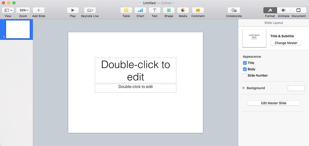 Изменение размеров слайда в Keynote