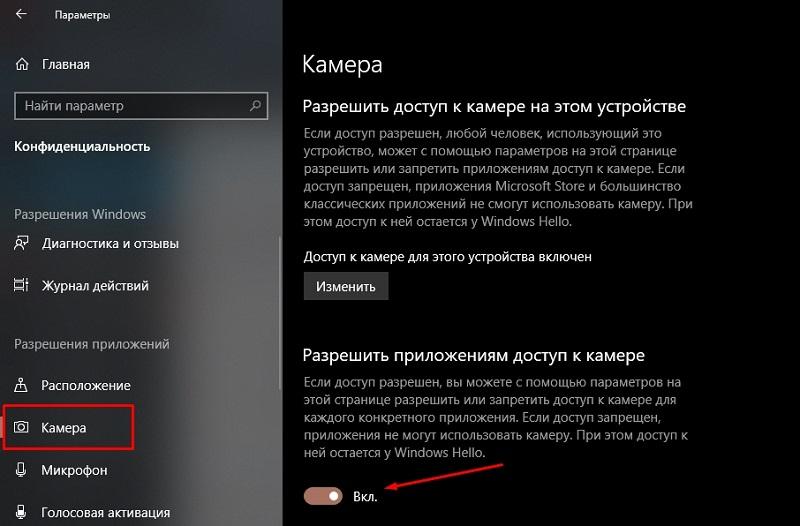 Параметр, разрешающий доступ приложений к устройству