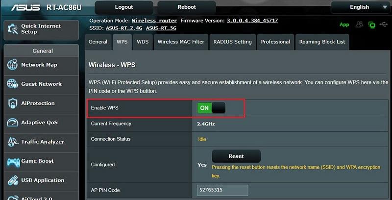 Активация WPS на Asus