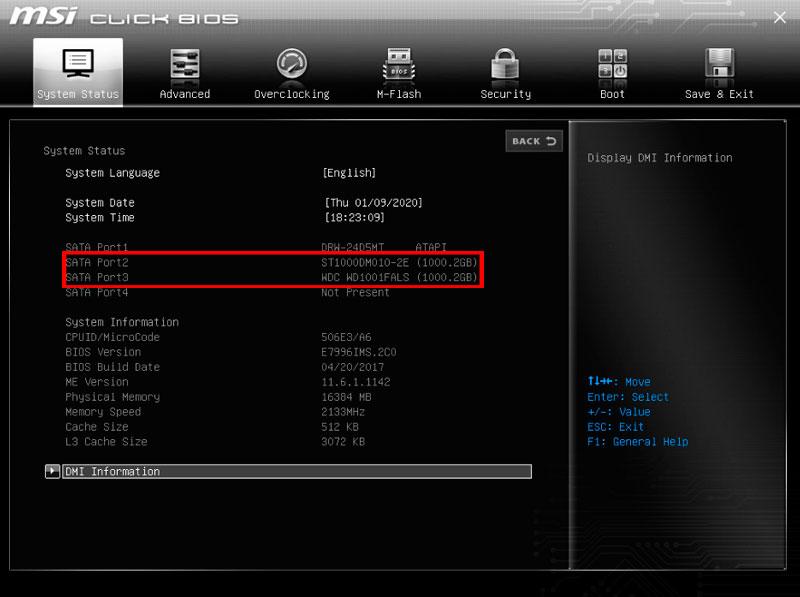 Отображение HDD в BIOS