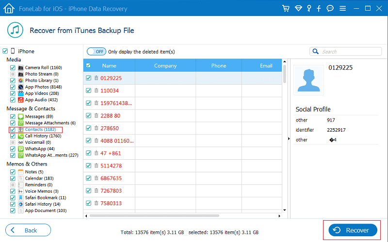 Восстановление контактов при помощи FoneLab Data Recover