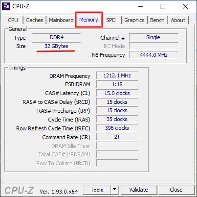 Утилита CPU-Z - вкладка Memory