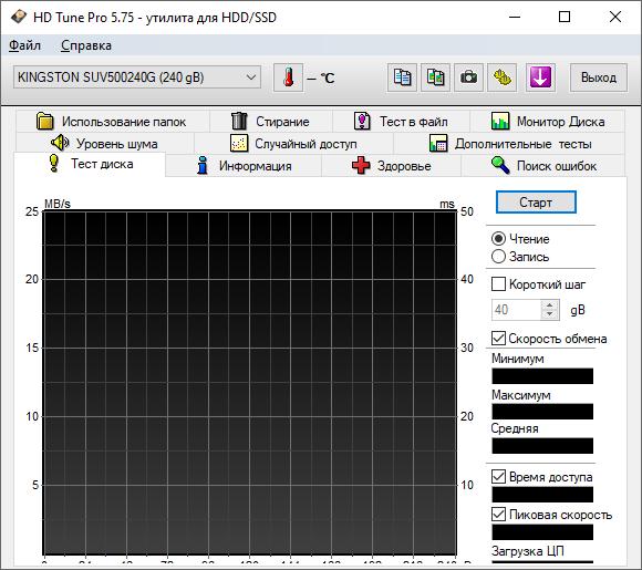 HD Tune проверка скорости HDD