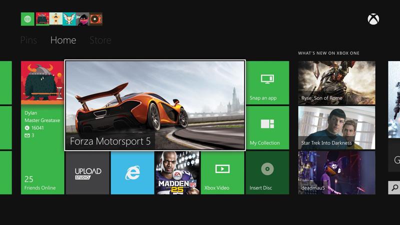 Интерфейс Xbox One