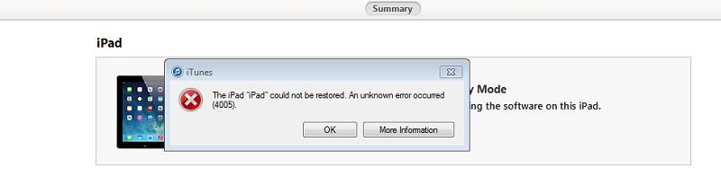 Ошибка при обновлении iPad