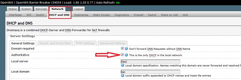Отключение DHCP в OpenWRT