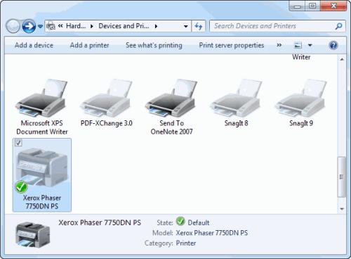 Принтер, установленный по умолчанию в Windows