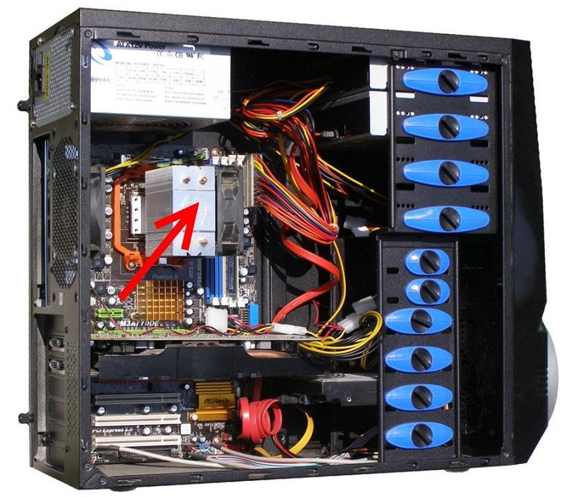 Расположение процессора и системы охлаждения