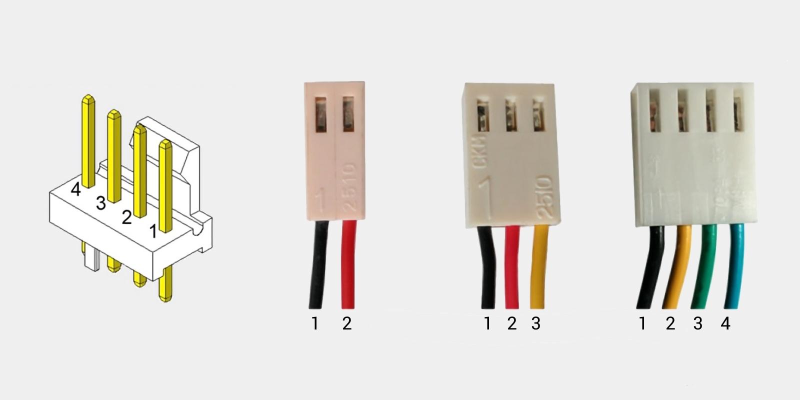 Штекеры вентиляторов с различным количеством контактов