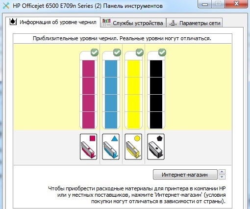 Индикаторы оставшегося уровня чернил в принтер