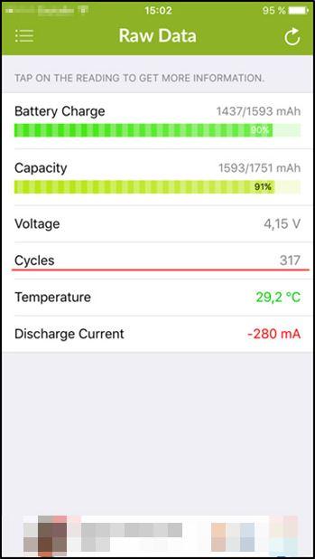 Датчик значений температуры, количества циклов и энергоёмкости аккумулятора