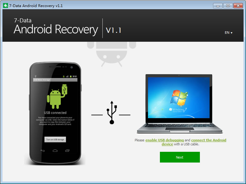 Главное меню 7-Data Android Recovery