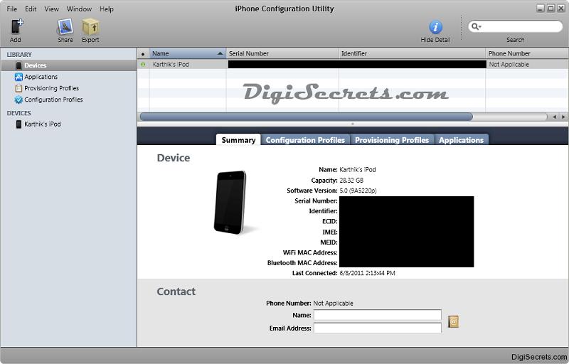 Главное меню iPhone Configuration