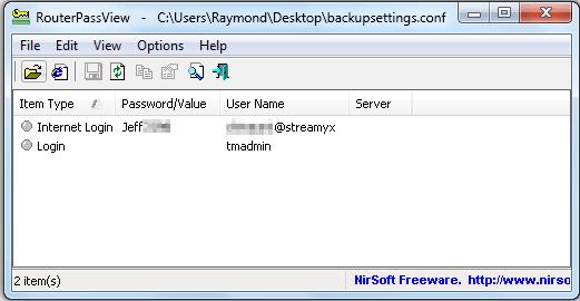 Интерфейс утилиты RouterPassView