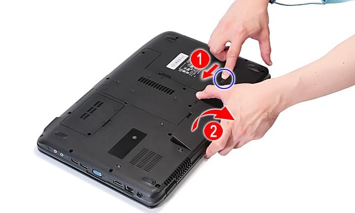 Извлечение батареи ноутбука