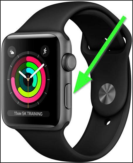 Кнопка, размещённая над колесиком Apple Watch
