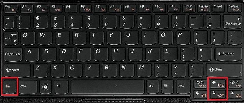 Кнопки для изменения яркости на ноутбуке