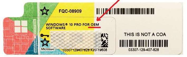 Наклейка лицензии Windows 10