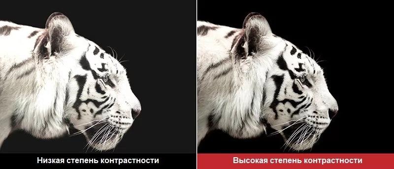Низкая и высокая контрастность проектора