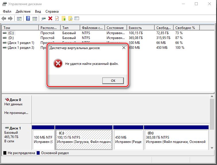 Ошибка инициализации диска