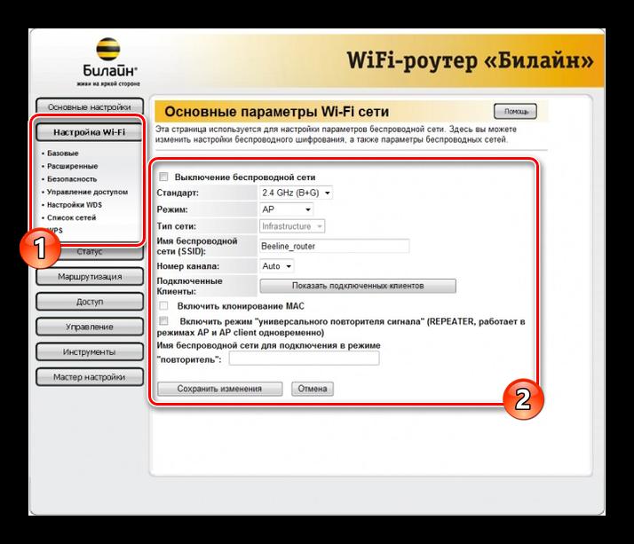 Основные параметры Wi-Fi сети