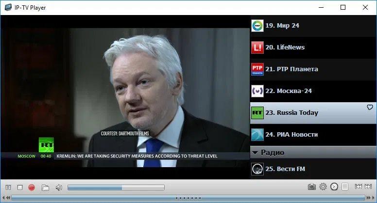 Плеер для трансляции IP телевидения