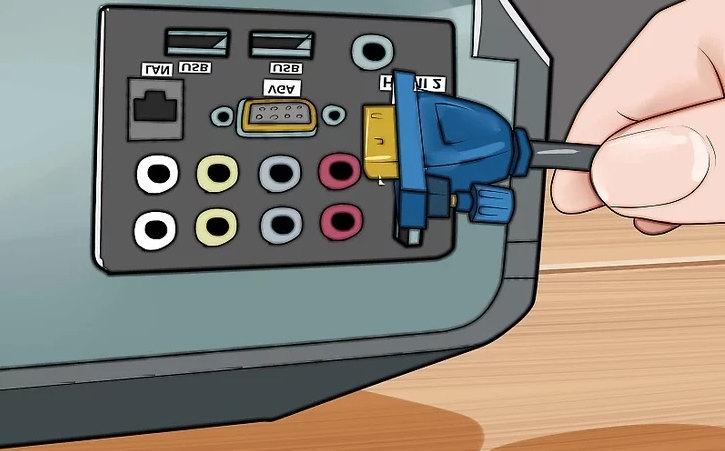 Подключение проектора через кабель