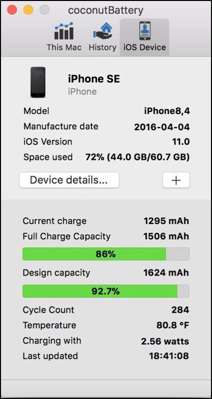 Проверка батареи iPhone через средство coconutBattery