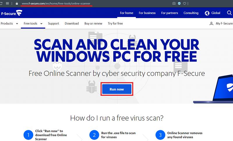 Проверка на вирусы в F Secure Online Scanner
