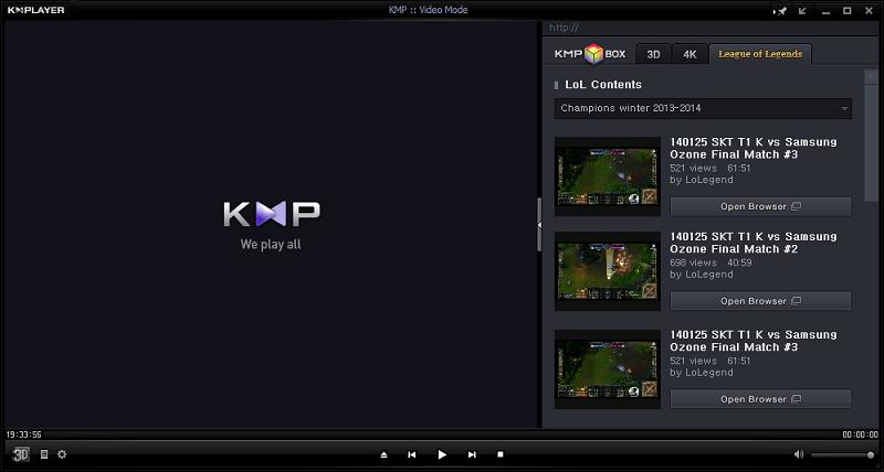 Рабочее окно The KMPlayer