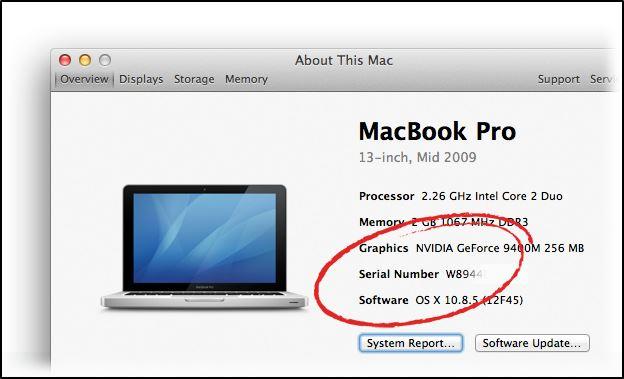 Серийный номер отображаемый в операционной системе Mac