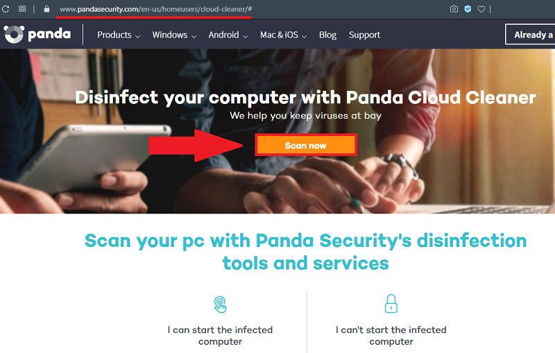 Сканирование на вирусы в Panda Cloud Cleaner