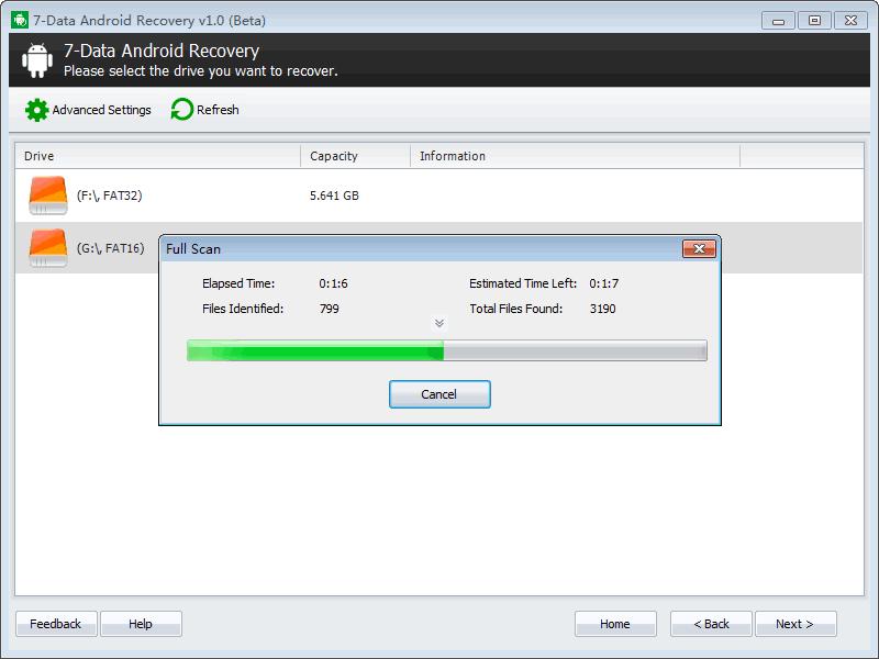 Сканирование в 7-Data Android Recovery