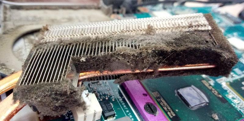 Скопление пыли внутри ноутбука