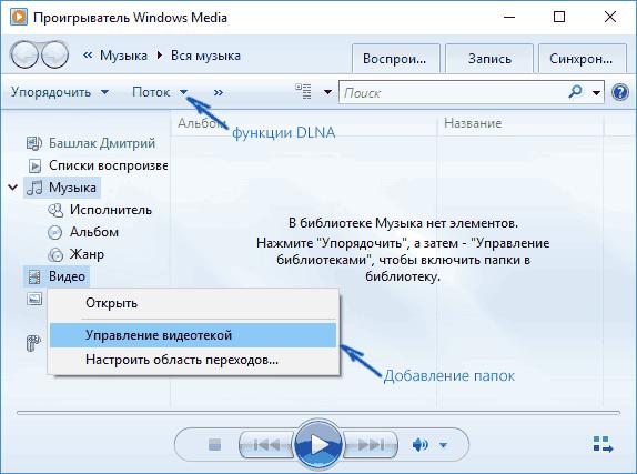 Управление видотекой в Windows Media