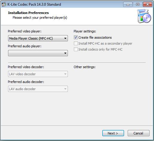 Установка пакета Mega от K-lite Codec