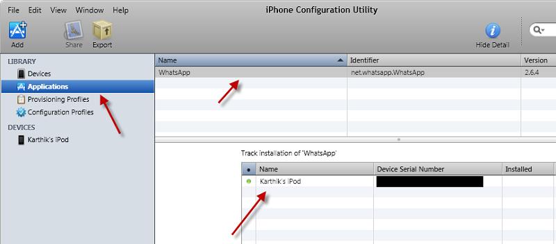 Вкладка Applications в iPhone Configuration