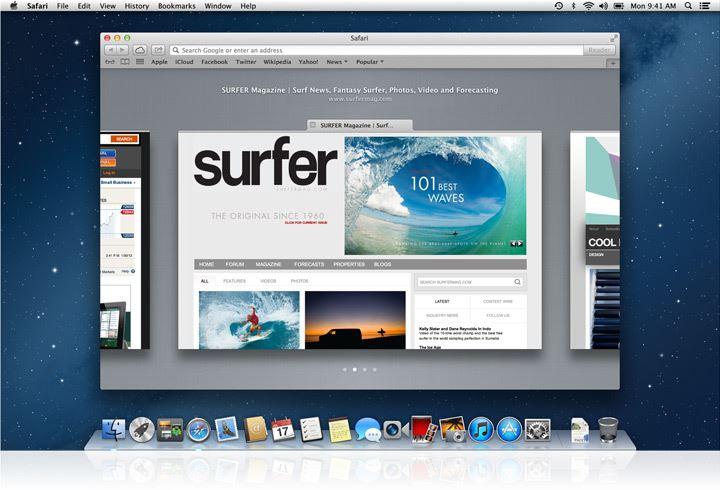 Встроенный браузер Safari в Mac OS