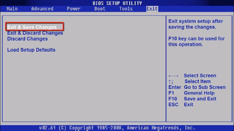 Выход из меню BIOS